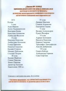 Списък с непотърсени униформи